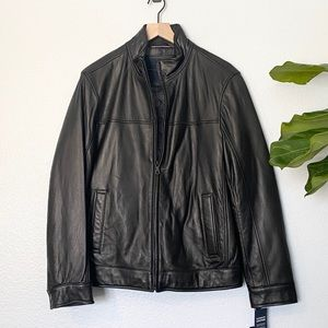 *NEW* TOMMY HILFIGER Black Leather Jacket, Small